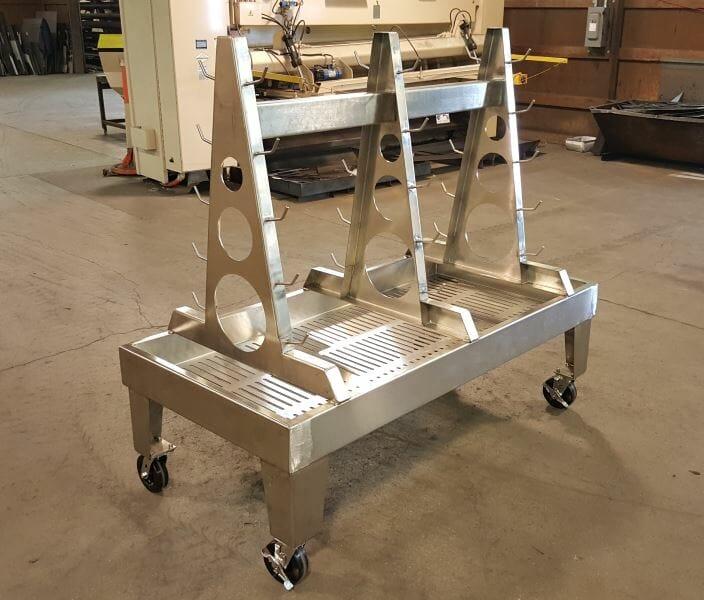 Sanitary Tube Wash Down Cart - EleMETAL Fabrication and Machine